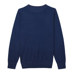 Blue Crew Neck Merino Wool Sweater