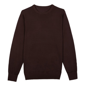 Brown Crew Neck Merino Wool Sweater