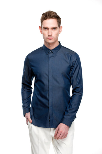 The Essentials - Dark Blue Print / Pattern Shirts