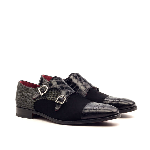 Custom Designed Croco Suede Double Monk - DV Clothiers - The Best Custom Mens Suits In Vancouver