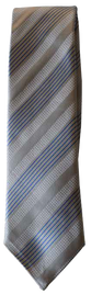 Hand Sewn - Italian Silk Tie - Grey & Blue Multi Stripe