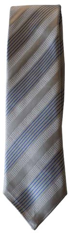 Italian silk ties hand sewn in Italy - Grey & Blue Multi Stripe