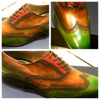 Brown / Green & Red Wingtips - DV Clothiers - The Best Custom Mens Suits In Vancouver