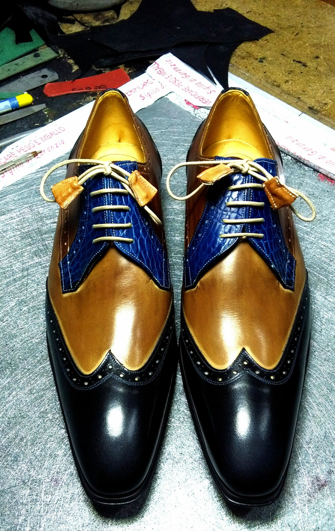 Blue / Brown Lace-ups - DV Clothiers - The Best Custom Mens Suits In Vancouver