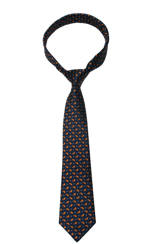 Orange Botey Paisley Mulberry Silk Tie - DV Clothiers - The Best Custom Mens Suits In Vancouver