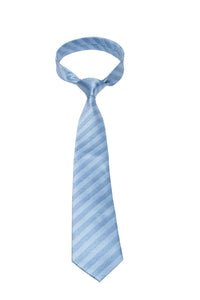 Light Blue Textured Stripe Mulberry Silk Tie - DV Clothiers - The Best Custom Mens Suits In Vancouver