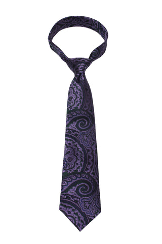 Purple Paisley Mulberry Silk Tie - DV Clothiers - The Best Custom Mens Suits In Vancouver