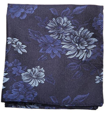 Blue Flower Print Mulberry Silk Pocket Square