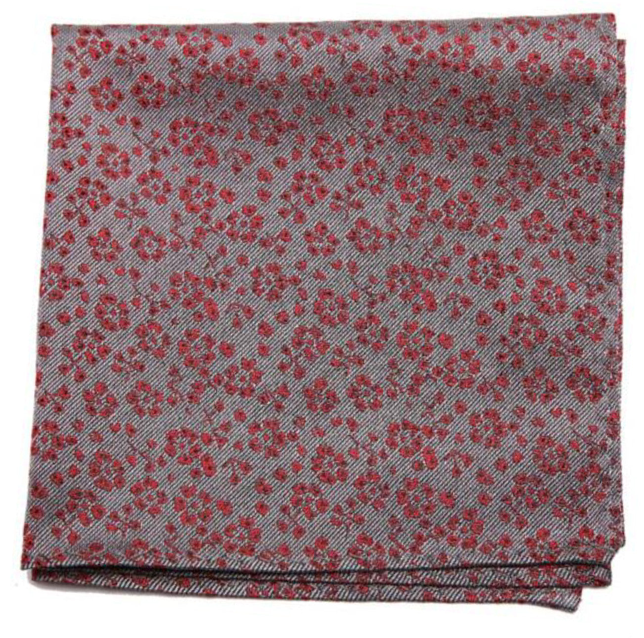 Grey Red Flower Print Mulberry Silk Pocket Square - DV Clothiers - The Best Custom Mens Suits In Vancouver