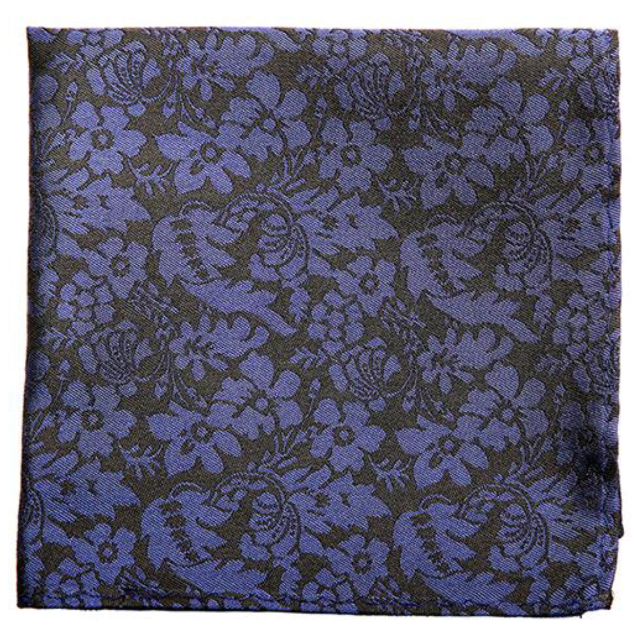 Black Blue Flower Print Mulberry Silk Pocket Square - DV Clothiers - The Best Custom Mens Suits In Vancouver