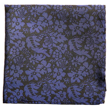 Black Blue Flower Print Mulberry Silk Pocket Square