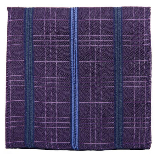 Violet Blue Stripped Mulberry Silk/ Wool Pocket Square - DV Clothiers - The Best Custom Mens Suits In Vancouver