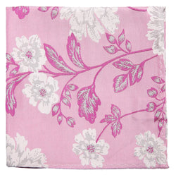2020 Pink Floral Print Mulberry Silk Pocket Square