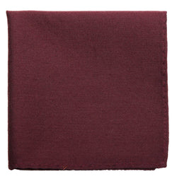 Dark Burgundy Mulberry Silk/ Wool Pocket Square