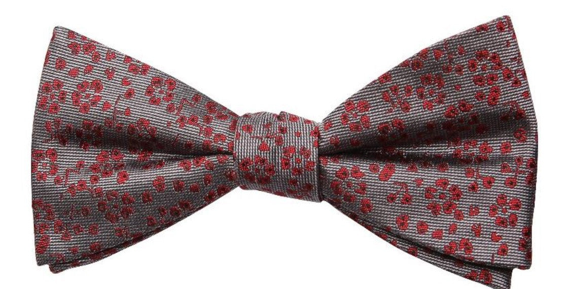 Grey Red Flower Print Mulberry Silk Bow Tie - DV Clothiers - The Best Custom Mens Suits In Vancouver
