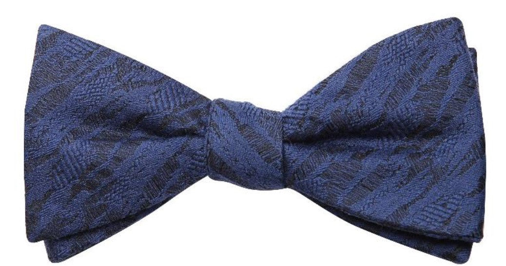 Light Blue Grey Tied Mulberry Silk/ Wool Bow Tie - DV Clothiers - The Best Custom Mens Suits In Vancouver