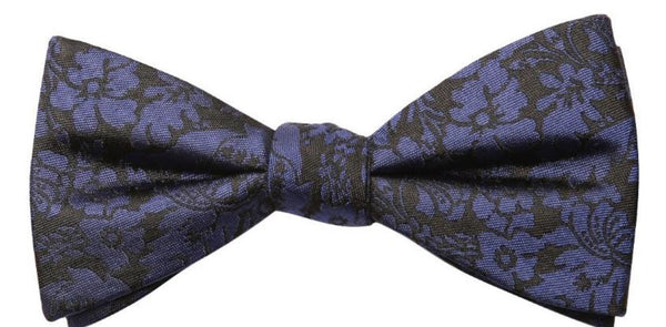 Grey Blue Flower Mulberry Silk Bow Tie - DV Clothiers - The Best Custom Mens Suits In Vancouver