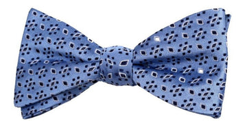 Blue Black Leaf Mulberry Silk Bow Tie