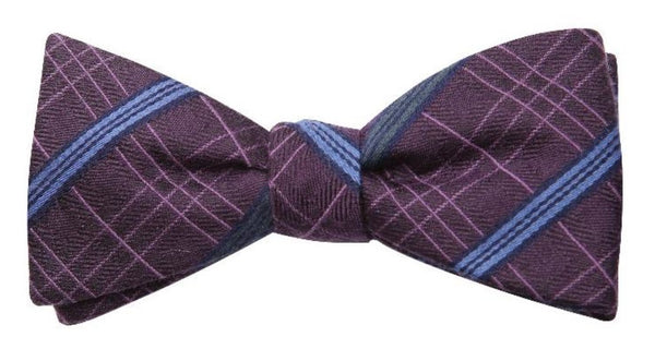 Light Brown Blue Stripe Mulberry Silk/ Wool Bow Tie - DV Clothiers - The Best Custom Mens Suits In Vancouver