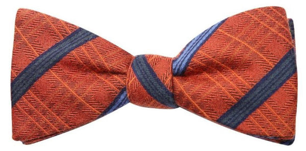 Orange & Blue Stripe Mulberry Silk/ Wool Bow Tie - DV Clothiers - The Best Custom Mens Suits In Vancouver