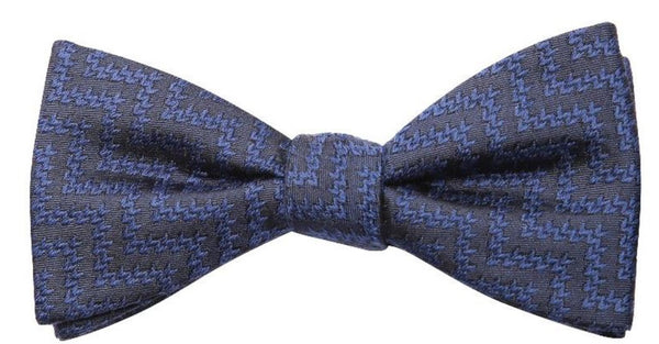 Grey Light Blue Stripe Mulberry Silk/ Wool Bow Tie - DV Clothiers - The Best Custom Mens Suits In Vancouver