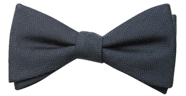 Dark Blue Mulberry Silk/ Wool Bow Tie - DV Clothiers - The Best Custom Mens Suits In Vancouver