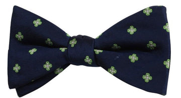 Blue Green Star Mulberry Silk Bow Tie