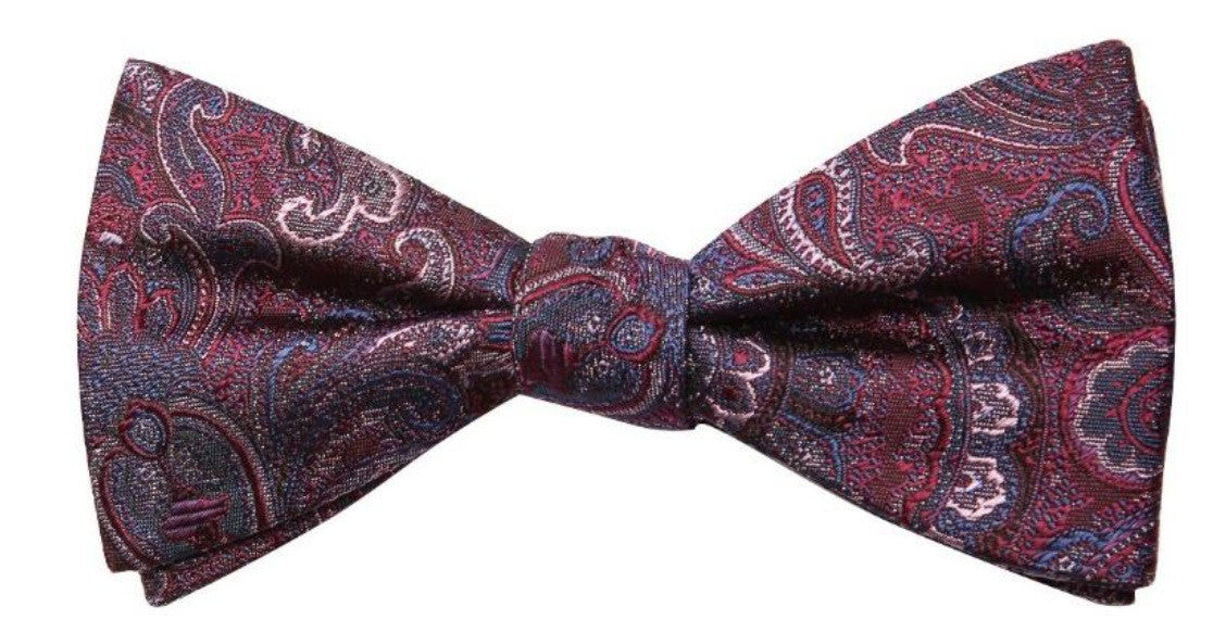 Grey Purple Flower Print Mulberry Silk Bow Tie - DV Clothiers - The Best Custom Mens Suits In Vancouver