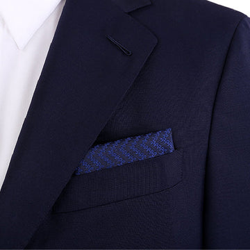 2020 Blue Pattern Wool & Silk Pocket Square