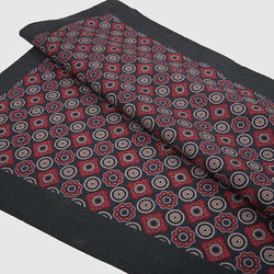 2020 Black & Red Wool Pocket Square