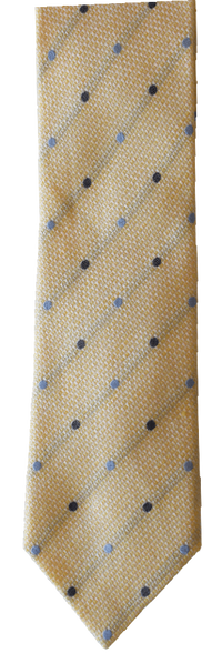 Italian silk ties hand sewn in Italy - Light Beige & Blue Dot