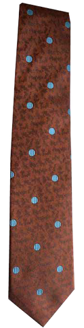 Italian silk ties hand sewn in Italy - Brick Red Light Blue Dot