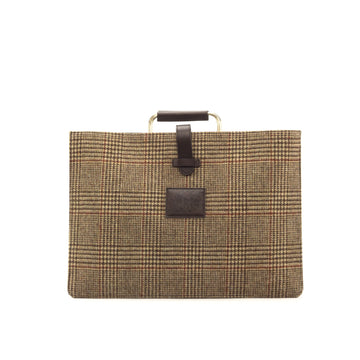 Wool Tweed Brown - Painted Full Grain Dark Brown Satchel