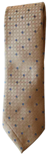 Italian silk ties hand sewn in Italy - Tan & Blue Geometric