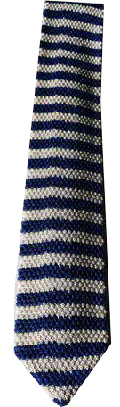 Italian Made - Hand-Sewn - Knit Tricot Tie  -  White Blue Stripe