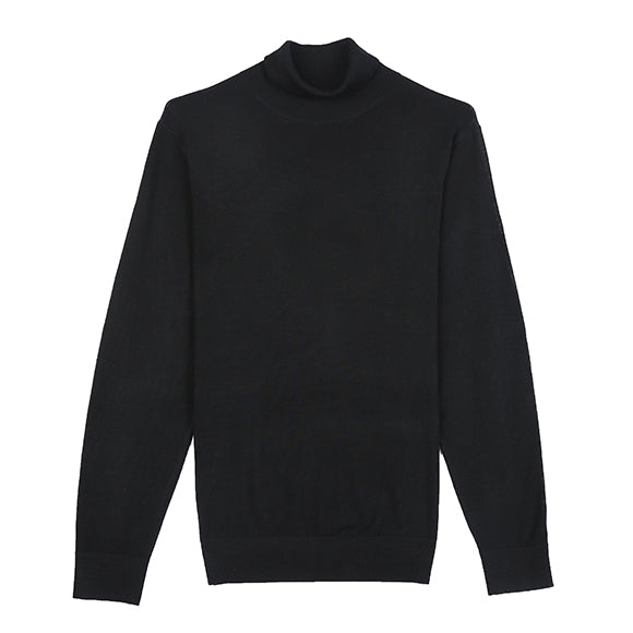Black Turtle Neck Merino Wool Sweater