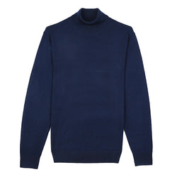 Blue Turtle Neck Merino Wool Sweater