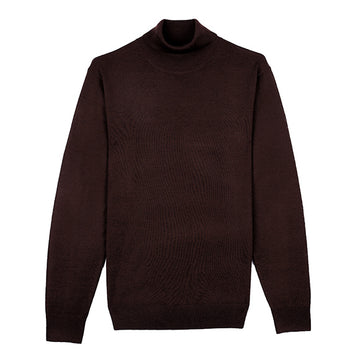 Brown Turtle Neck Merino Wool Sweater