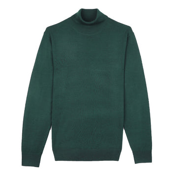 Green Turtle Neck Merino Wool Sweater