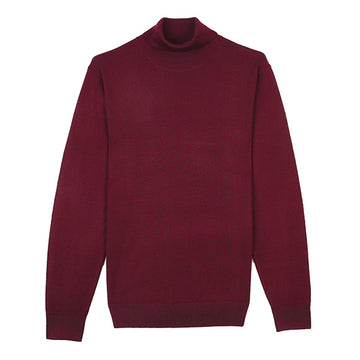 Red Turtle Neck Merino Wool Sweater