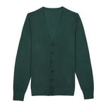 Green Men's V-Neck Merino Wool Button-up Sweater