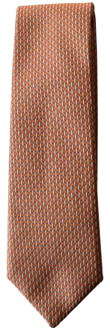 Hand Sewn - Italian Silk Tie -  Orange Micro Pattern