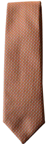 Italian silk ties hand sewn in Italy -  Orange Micro Pattern