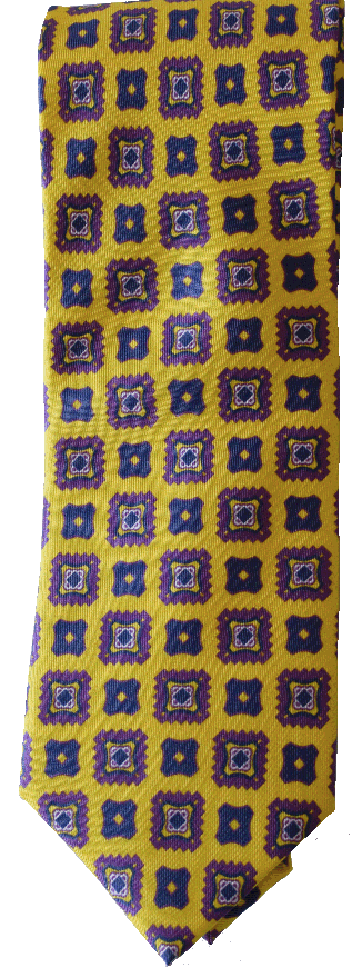 Italian silk ties hand sewn in Italy - Yellow Blue & Purple Pattern