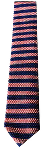 Italian Made - Hand Sewn - Knit Tricot Tie  -  Pink Blue Stripe