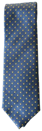 Hand Sewn - Italian Silk Tie - Blue & Yellow Dot