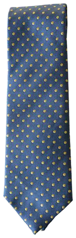 Italian silk ties hand sewn in Italy - Blue & Yellow Dot