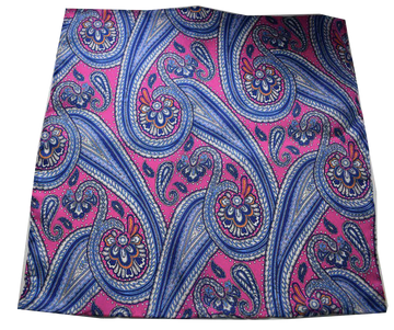 Italian Hand Sewn Pocket Square - Pink & Blue Paisley