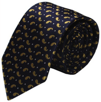 Blue & Gold Botey Paisley Mulberry Silk Tie - DV Clothiers - The Best Custom Mens Suits In Vancouver