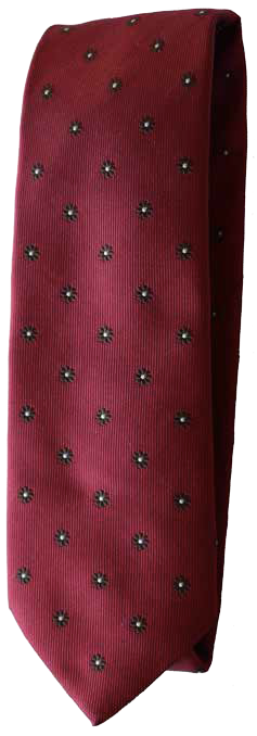 Italian silk ties hand sewn in Italy - Red Floral Dot